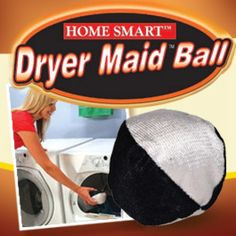 Dryer Maid Ball removes lint and pet hair from clothes, sheet and towels as they tumble in dryer and sends it to the lint trap for easy disposal! Cat hair, dog hair, lint gone.