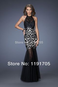 Free shipping Sexy Halter Beaded Backless Black Prom dress 2014 Mermaid Floor Length Evening Gowns 2014 New Fashion $119.00