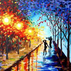 Original Abstract Painting - Jazz night - Acrylic Contemporary Art - Dancing Couple - Night Rain Painting