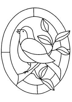 Coloriage Vitrail Et Oiseau - Hugolescargot.com
