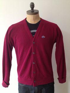 Vintage MENS Izod Lacoste burgundy or plum cardigan by pandaJpanda, $28.00