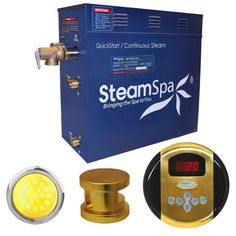 SteamSpa IN600GD Indulgence 6 KW QuickStart Acu-Steam Bath Generator Package in Polished Gold