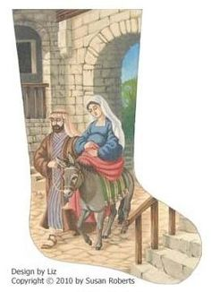 click here to view larger image of Coming to Bethlehem Stocking (hand painted canvases)