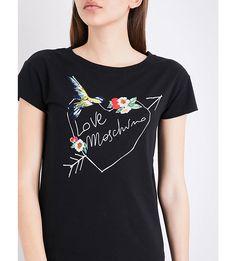LOVE MOSCHINO - Bird-embroidered logo-print stretch-cotton T-shirt | Selfridges.com