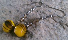 Bumble Bee Brown striped glass bead earrings by InnerBoHo on Etsy, $15.00    #bumblebee #innerboho #vintageczechglass #estatesale #vintagebeads #yellowandbrown #beesting