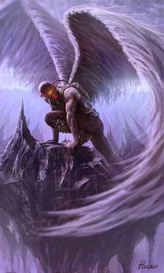 Inspiring Concept Art by Stéphane Ducher  *   Angel Fantasy Myth Mythical Mystical Legend Wings Feathers Faith Valkyrie Odin God Norse Death Dark Light