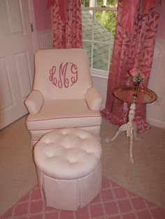 Pink monogrammed rocker...When I figure out how to make slip covers I'll be adding a monogram to chairs!