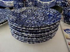 Set of 9 Royal Crownford Blue Transferware  Calico  Bread and Butter Plates…