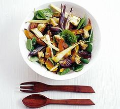 Honeyed winter salad (roasted veggies served warm with wilted spinach and a mustard vinaigrette dressing).  Optional: Add goat's or feta cheese.  Vegetarian, super healthy