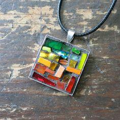 Rainbow Inspired ROYG Mosaic Pendant by Margaret Almon of nutmegdesigns on Etsy