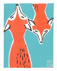 Friendly Foxes Serigraph by Print Mafia at Art.com