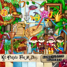 Piraten für einen Tag - ein digitales Scrapbooking Kit - Kinder, Kinder, Augenklappe, Krone, Fisch, Papagei, Piraten, Piraten Fahne, Piratenhut, Ruderboot