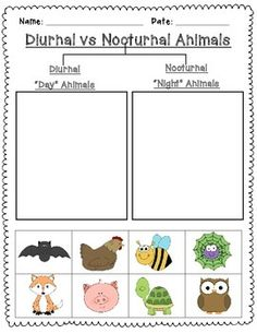 Nocturnal and Diurnal Animal Sort is a simple cut and paste activity to reinforce learning about day and night.