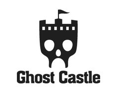 Ghost Castle Logo design - Creative design logo of a skull in the shape of castle with the flag on it, used black colors to symbolize the royalty. This design can be useful for studio, games, sports, film production, entertainment and more. Price $350.00