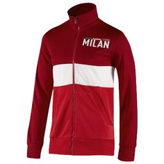 AC MILAN URBAN TRACK TOP- MEN (S) Front welt pockets. Full zip with ribbed stand-up collar. Ribbed cuffs, pocket edges and bottom hem. Printed AC Milan wording on left chest. 100% polyester doubleknit.  #Adidas #Apparel