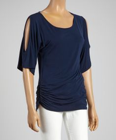 Navy Ruched Cutout Top