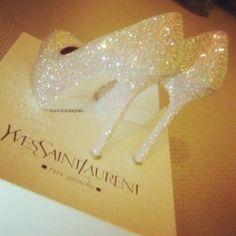 wedding shoes...yes indeed princess, slipper, wedding shoes, yves saint laurent, dream, sparkly shoes, glass, wedding heels, cinderella wedding