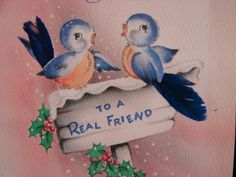 "VINTAGE ""TO A TRUE-BLUE REAL FRIEND!!""CHRISTMAS GREETING CARD - 1944 