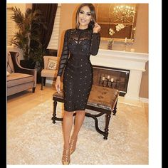 """❗️1HR Sale❗️Black Studded Bandage Dress #554-S Top part and sleeves are sheer. 90% Rayon, 9% Nylon, 1% Spandex. Bust 32"""", waist 24"""" hips 30"""" length armpit down 26"""" and will stretch out a few more inches. Rumor Apparel Dresses"""