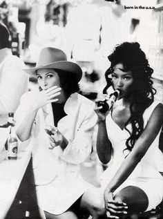 Christy Turlington and Naomi Campbell :: msCurleeBikini. #the90s #modellove #snacktime