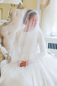 Is there anything more elegant than a veil, tiara and full beading? I'm in love with this royal look, high neck and long sleeve wedding dress! Jessica Nazarova photography in Washington DC area. Venue: Oxon Hill Manor. Gown: Chana Marelus (Israel and NY)
