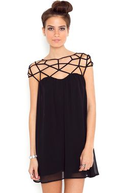 black cut-out chiffon shift dress.