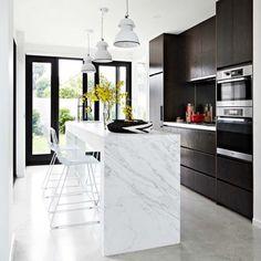 Kitchen inspo - Calcutta marble benchtop via Rebecca Judd loves