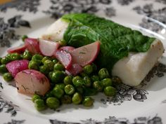 Lettuce-Wrapped Halibut with Dill Cream Sauce and Radishes and Peas : Recipes : Cooking Channel: Recipe Courtesy of Laura Calder Other Recipes, Fish Recipes, Vegetable Recipes, Seafood Recipes, Entree Recipes, Dill Sauce, French Food At Home, Season Fruits And Vegetables, Seafood