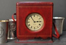 Cartier Travel Clock in White Gold and Leather Box 1920