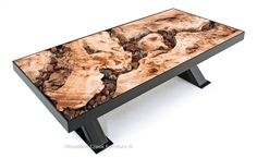 Natural Burl Slab Coffee Table with Industrial Metal Base by Woodland Creek Unique Coffee Table, Coffee Table Styling, Rustic Coffee Tables, Tree Burl, Amboyna Burl, Natural Wood Furniture, Wooden Clock, Rustic Contemporary, Organic Modern