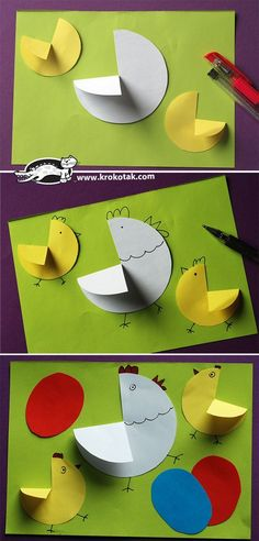 Easy to make easter card – Origami Easter Crafts For Toddlers, Easter Activities, Toddler Crafts, Craft Activities, Children Activities, Preschool Crafts, Diy And Crafts, Crafts For Kids, Paper Crafts