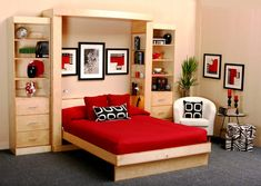 Hidden Wall Bed With Red Pillow And Bed, ikea wall bed, wall bed kit ~ Home Design Murphy Bed Ikea, Murphy Bed Plans, Murphy Desk, Small Apartments, Small Spaces, Camas Murphy, One Room Flat, Bedroom Furniture, Bedroom Decor