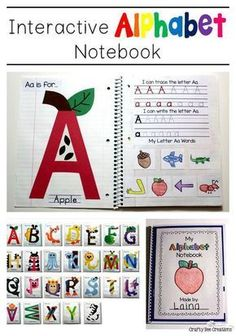to teach kiddos about the alphabet! Do a letter a week and create a great portfolio of students work from letters A to Z.way to teach kiddos about the alphabet! Do a letter a week and create a great portfolio of students work from letters A to Z. Preschool Literacy, Preschool Lessons, Kindergarten Classroom, Literacy Activities, Interactive Notebooks Kindergarten, Teaching Resources, Alphabet Activities Kindergarten, School Resources, Teaching Letters