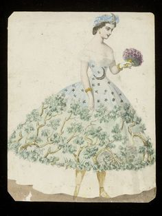 """1860s design for a """"night-time forest"""" themed fancy-dress costume, probably for the House of Worth. V&A."""