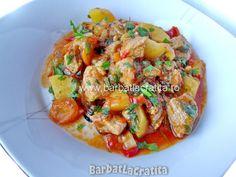 Tocanita de porc cu cartofi Ratatouille, Carne, Shrimp, Meat, Ethnic Recipes, Mariana, Pork, Kitchens