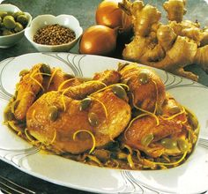 Pollo al limone con cipolle e zenzero.