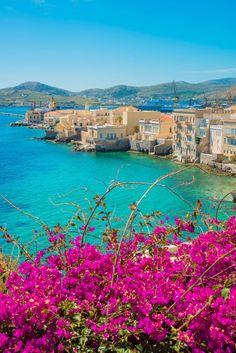 overlooking Vaporia, Syros island, Greece
