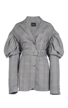 Shop Prince Of Wales Check Drop Sleeves Jacket. Rendered in cotton, this **Simone Rocha** jacket features a puff styled sleeve, a belt detail, and a notched lapel. Kpop Outfits, Fall Outfits, Next Clothes, Clothes For Women, Classy Work Outfits, Corporate Wear, Sewing Shirts, Satin Bomber Jacket, Jacket Style