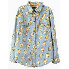 Light Blue Cartoon Simpson Print Denim Blouse ($34) ❤ liked on Polyvore featuring tops, blouses, shirts, blue blouse, comic shirts, pattern shirt, denim shirt and denim blouse
