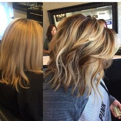 Blonde Balayage highlights, darkened roots with painted on highlights and lowlights before-after color makeover, short hair ideas, bob haircut, lob haircut, beach waves