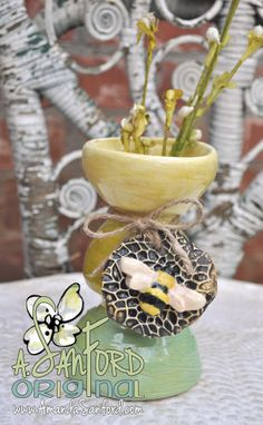 Wheel Thrown Hanbuilt Bumble Bee Pottery Vase
