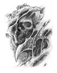 bio mechanical skull sketches by frankenshultz