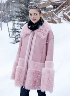 Jaime King Fleece Jacket - Jaime King looked perfectly ready for Sundance weather in a chic pink shearling coat by Prabal Gurung.