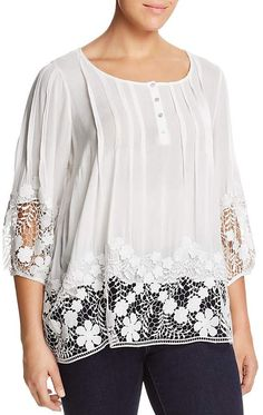 e57993f6934 Isaac Mizrahi Live! Floral Lace 3/4 BellSleeve Tunic   Products ...