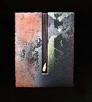 Rebekah Laskin:  Rectangular Pin (1994, enamel on copper, brass, and Plexiglas)  2 5/8 x 2 1/8 x 1/2 in. (6.7 x 5.4 x 1.3 cm)  Smithsonian American Art Museum.