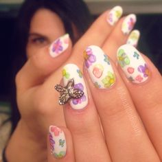 Floral Butterfly Summer Nails