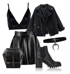 A fashion look from November 2016 featuring lace off the shoulder top, polyurethane jacket and faux leather mini skirt. Baddie Outfits Casual, Grunge Outfits, Cute Casual Outfits, Pretty Outfits, Stylish Outfits, Bad Girl Outfits, Teen Fashion Outfits, Mode Emo, Moderne Outfits