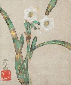 Narcissus. Nakamura Hochu. Japanese hanging scroll. Burke Collection.