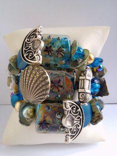 """Nouveauté femme 2017 ,""""L'Atlantide""""bracelet 3 rangs ,unique et fait main : Bracelet par les-creations-uniques-de-michel-nala Napkin Rings, Creations, Michel, Etsy, Vintage, Home Decor, Handmade, Handmade Gifts, Unique Jewelry"""