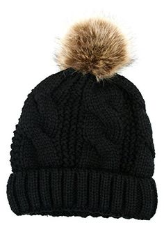 8ed4e606 Hats & Caps, Women's Hats & Caps, Skullies & Beanies, Women's Thick Cable Knit  Beanie Hat With Soft Fur Pom Pom - Black - & Beanies